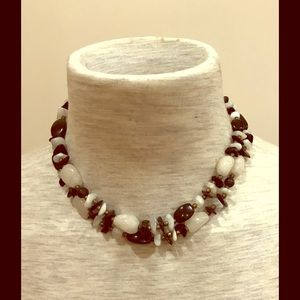 "White quartz and hematite bead necklace. 35"" long."